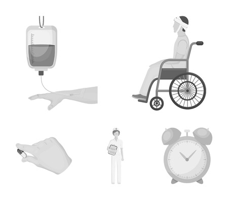 Invalid with trauma, blood transfusion, doctor, medication in the hands of a doctor. Medicineset collection icons in monochrome style vector symbol stock illustration web.