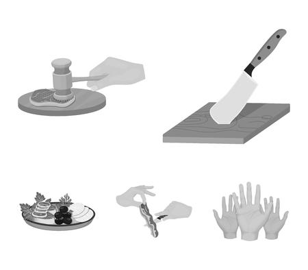 Couteau sur une planche à découper, marteau pour côtelettes, cuisson du bacon, consommation de poisson et de légumes. Manger et cuisiner des icônes de la collection de jeu en web monochrome style vecteur symbole stock illustration.