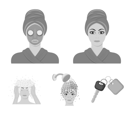 Hands, hygiene, cosmetology and other  icon in monochrome style.Bath, clothes, means icons in set collection.