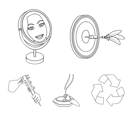 Game Darts, reflection in the mirror and other  icon in outline style. Cigar in ashtray, calipers in hands icons in set collection. Ilustracja