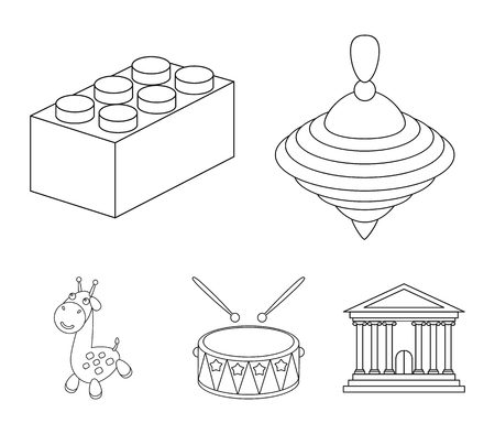 Yula, lego, drum, giraffe.Toys set collection icons in outline style vector symbol stock illustration .