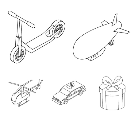 A dirigible, a children's scooter, a taxi, a helicopter.Transport set collection icons in outline style vector symbol stock illustration . Ilustrace