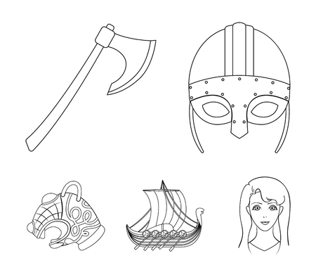 Viking helmet, battle ax, rook on oars with shields, dragon, treasure. Vikings set collection icons in outline style vector symbol stock illustration web. Illustration