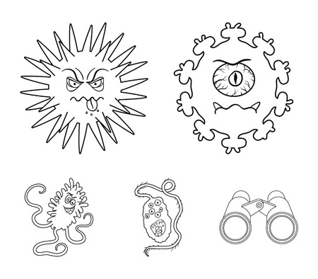 Different types of microbes and viruses. Viruses and bacteria set collection icons in outline style vector symbol stock illustration web. Zdjęcie Seryjne - 94823240