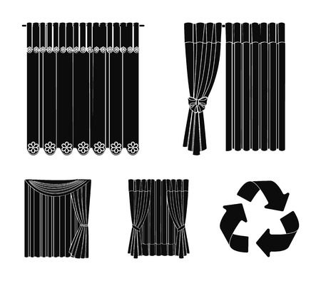 Curtains, drapes, garters, and other web icon in black style. Textiles, furniture, bow icons in set collection. Çizim