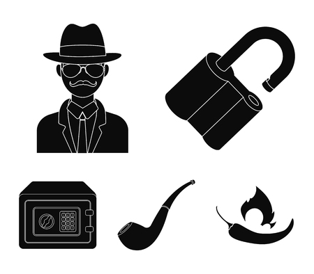 Lock hacked, safe, smoking pipe, private detective.Detective set collection icons in black style vector symbol stock illustration web.