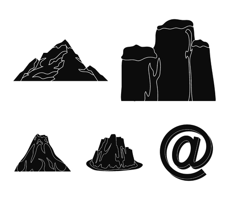 Sheer cliffs, a volcanic eruption, a mountain with a beach, a glacier. Different mountains set collection icons in black style vector symbol stock illustration web.