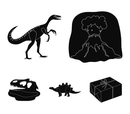 Volcanic eruption, gallimimus, stegosaurus,dinosaur skull. Dinosaur and prehistoric period set collection icons in black style vector symbol stock illustration web.