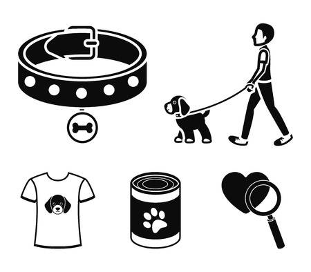 A man walks with a dog, a collar with a medal, food, a T-shirt I love dog.Dog set collection icons in black style vector symbol stock illustration web. Ilustração