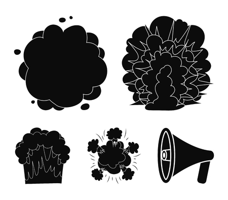 Flame, sparks, hydrogen fragments, atomic or gas explosion. Explosions set collection icons in black style vector symbol stock illustration . Banco de Imagens - 94885522