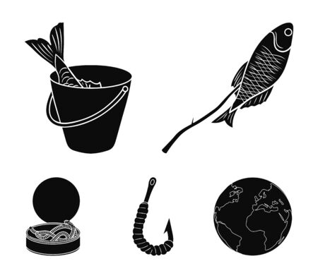 Fishing set collection icons in black style vector symbol stock illustration web.