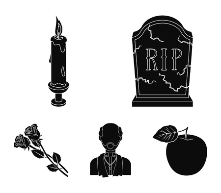 Funeral ceremony set collection icons in black style vector symbol stock illustration web.
