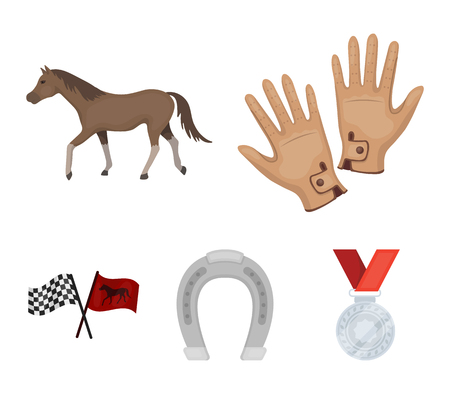 Hippodrome and horse set collection icons