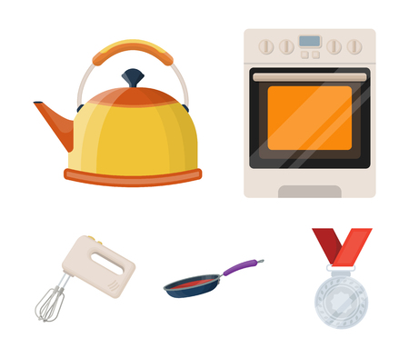 Kitchen equipment cartoon icons in set collection for design. Kitchen and accessories vector symbol stock  illustration. 向量圖像