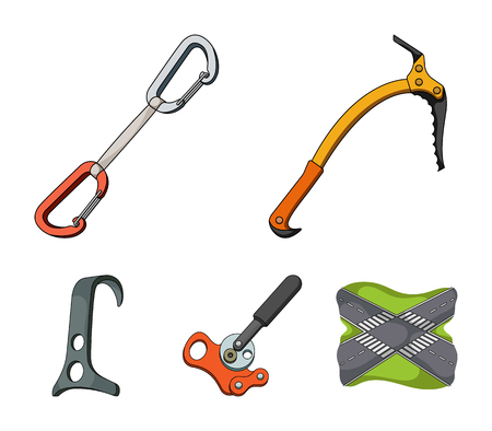 An ice ax, a carbine and other equipment.Mountaineering set collection icons in cartoon style vector symbol stock illustration .