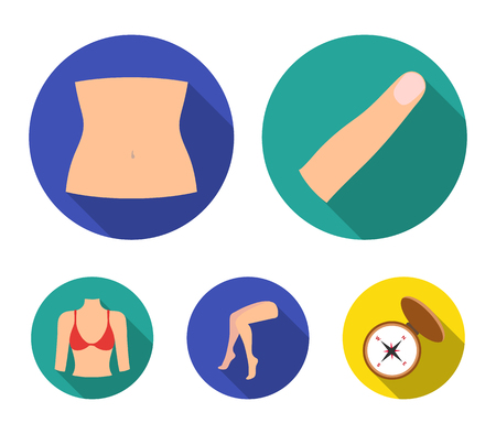 Finger, female feet, female, bust. Part of the body set collection icons in flat style vector symbol stock illustration .