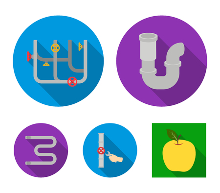 A siphon, a towel warmer and other equipment.Plumbing set collection icons in flat style vector symbol stock illustration . Imagens - 94890374