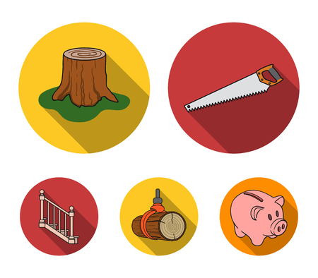 A hacksaw, a stump, a staircase with handrails, a beam. A sawmill and timber set collection icons in flat style vector symbol stock illustration . Illusztráció