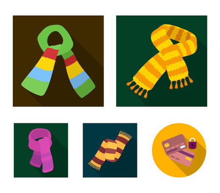 Verschillende soorten sjaals, sjaals en sjaals. Sjaals en sjaals instellen collectie iconen in vlakke stijl vector symbool stock illustratie.