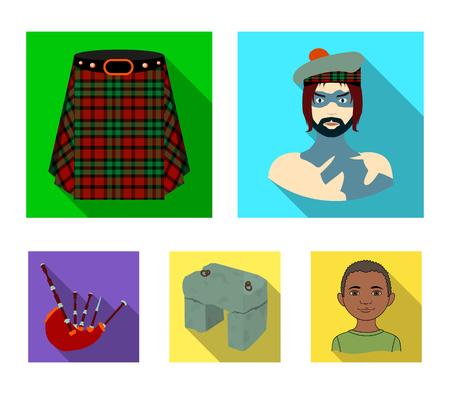 Highlander, Scottish Viking, tartan, kilt, scottish skirt, scone stone, national musical instrument of bagpipes. Scotland set collection icons in flat style vector symbol stock illustration web.