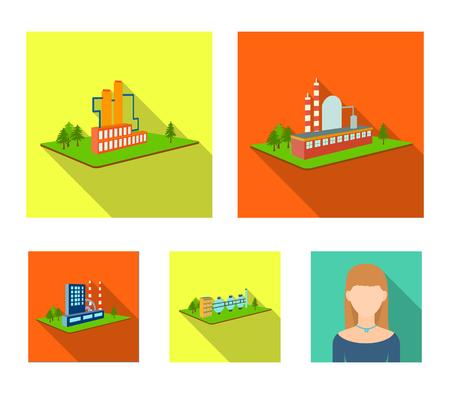 Verwerkingsfabriek, metallurgische fabriek. Fabriek en industrie instellen collectie iconen in vlakke stijl isometrische vector symbool stock illustratie.