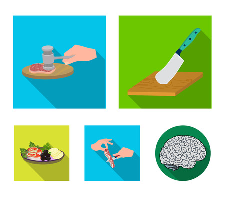 Cutlass on a cutting board, hammer for chops, cooking bacon, eating fish and vegetables. Eating and cooking set collection icons in flat style vector symbol stock illustration . Banque d'images - 94890598