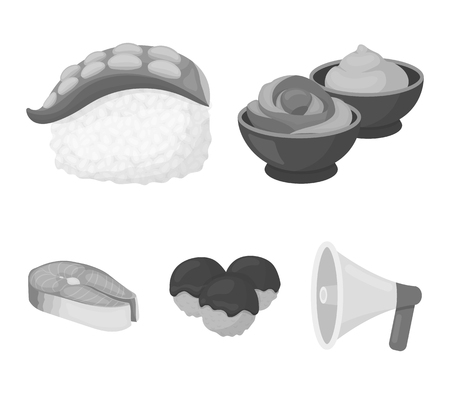 Sushi set collection icons in monochrome style vector symbol stock illustration web.  イラスト・ベクター素材