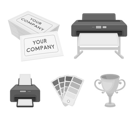 printer credit card color palettetypography set collection icons in monochrome style vector - Credit Card Printer