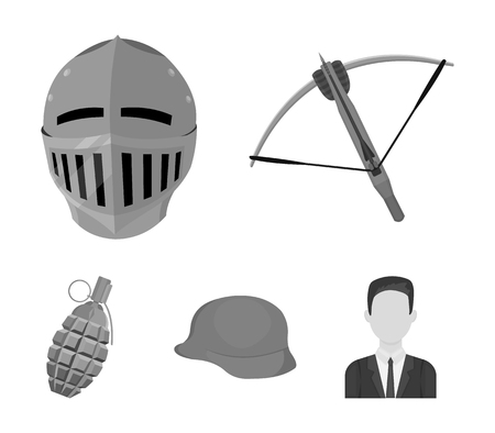 Crossbow, medieval helmet, soldiers helmet, hand grenade. Weapons set collection icons in monochrome style vector symbol stock illustration web.