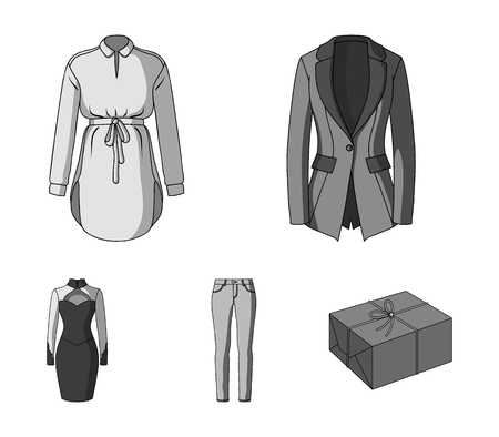 Womens Clothing monochrome icons in set collection for design.Clothing Varieties and Accessories vector symbol stock web illustration.