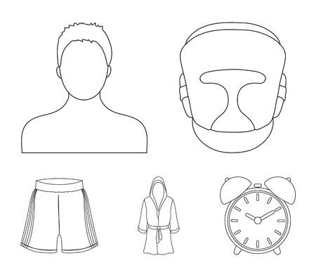 Boxing, sport, mask, helmet.Boxing set collection icons in outline style vector symbol stock illustration web. Çizim