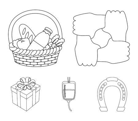 Gesture of the hands in support, a basket with food for charity, donor blood, a gift donation box. Charity and donation set collection icons in outline style vector symbol stock illustration web.