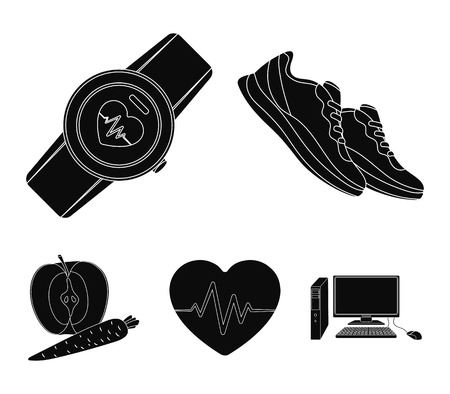 Heart rhythm, vitamins and other equipment for training. Gym and workout set collection icons in black style vector symbol stock illustration web.