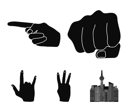 Closed fist, index, and other gestures. Hand gestures set collection icons in black style vector symbol stock illustration .