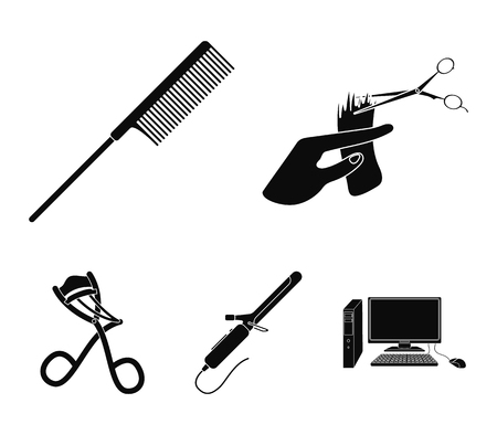 Hand haircut, hairbrush, hair curler. Hairdresser set collection icons in black style vector symbol stock illustration .