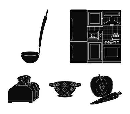 Kitchen equipment black icons in set collection for design. Kitchen and accessories vector symbol stock web illustration. Vettoriali