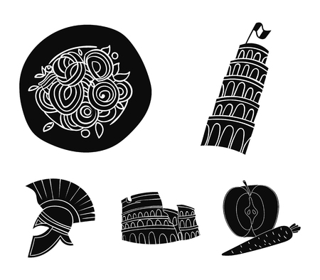 Pisa tower, pasta, coliseum, Legionnaire helmet. Italy country set collection icons in black style vector symbol stock illustration web.