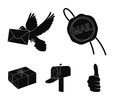 Wax seal, postal pigeon with envelope, mail box and parcel. Mail and postman set collection icons in black style vector symbol stock illustration web. Vettoriali