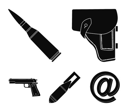 Holster, cartridge, air bomb, pistol. Military and army set collection icons in black style vector symbol stock illustration web. Ilustração