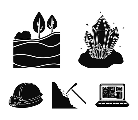 Crystals, coal seam, pickaxes, helmet with a lantern. Mine set collection icons in black style vector symbol stock illustration web. Vettoriali