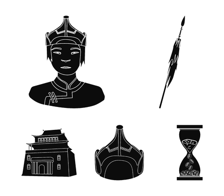 Military spear, Mongolian warrior, helmet, building. Mongolia set collection icons in black style vector symbol stock illustration web. Illustration