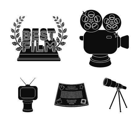Zilveren camera, een bronzen prijs in de vorm van een tv en andere soorten prijzen. Film award, set collectie pictogrammen in zwarte stijl vector symbool stock illustratie web.