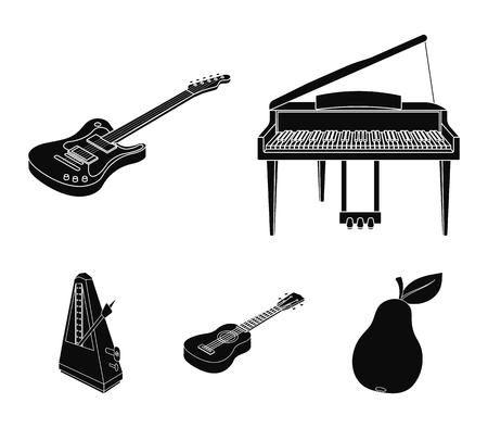 Musical instrument black icons in set collection for design. String and wind instrument isometric vector symbol stock web illustration.
