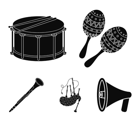 Maracas, drum, Scottish bagpipes, clarinet. Musical instruments set collection icons in black style vector symbol stock illustration web.