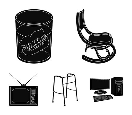 Denture, rocking chair, walker, old TV. Old age set collection icons in black style vector symbol stock illustration web.