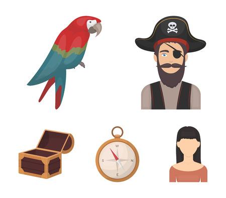 Pirate, bandit, hat, bandage .Pirates set collection icons in cartoon style vector symbol stock illustration web. Illustration