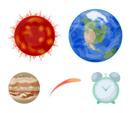 Earth, Jupiter, the Sun of the Planet of the Solar System. Asteroid, meteorite. Planets set collection icons in cartoon style vector symbol stock illustration web. Illustration