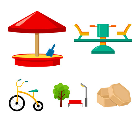 Carousel, sandbox, park, tricycle. Playground set collection icons in cartoon style vector symbol stock illustration web.