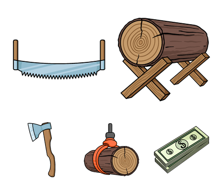 Log on supports, two-hand saw, ax, raising logs. Sawmill and timber set collection icons in cartoon style vector symbol stock illustration web.