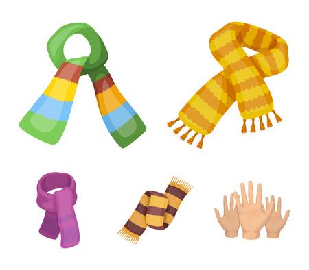 Verschillende soorten sjaals, sjaals en sjaals. Sjaals en sjaals set verzameling iconen in cartoon stijl vector symbool stock illustratie web.